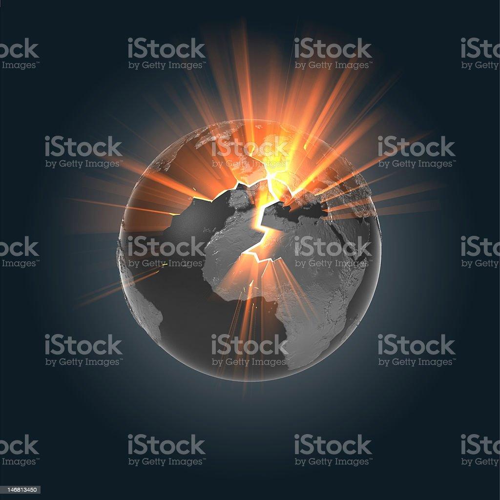 Exploding Dark Earth royalty-free stock vector art