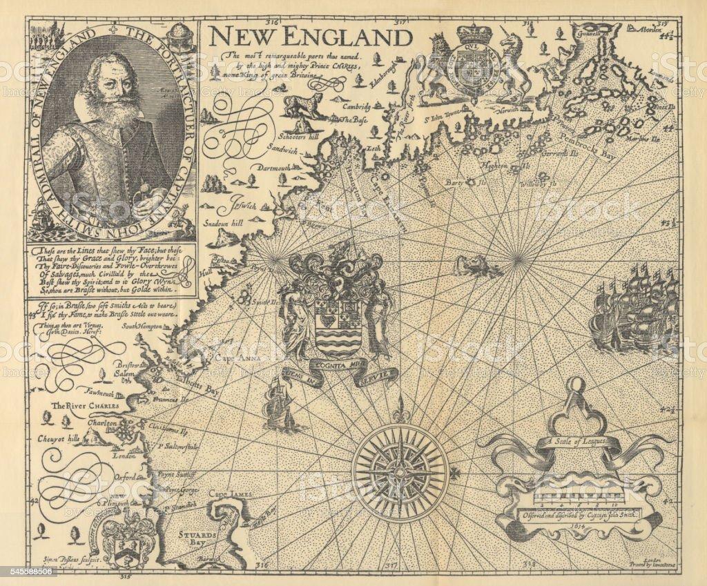 Explorer John Smith Map of New England, Circa 1624 vector art illustration