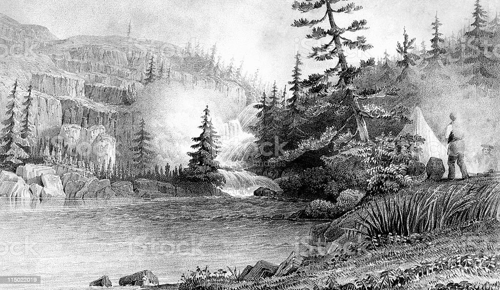 Explorers Camp Near Falls at Great Slave Lake, Canada royalty-free stock vector art