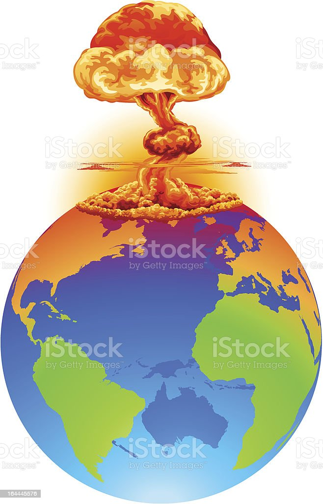 Explosion earth disaster concept royalty-free stock vector art