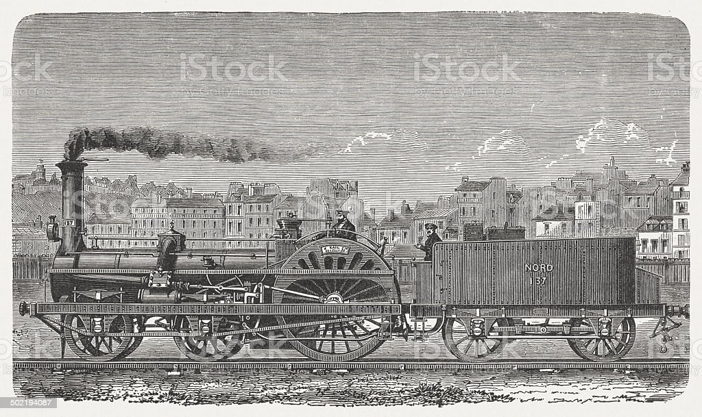 Express locomotive, 19th century, wood engraving, published 1880 royalty-free stock vector art