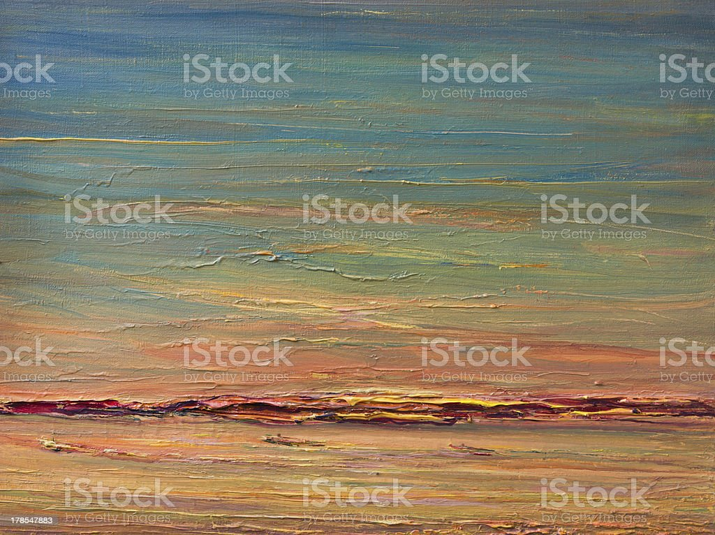Expressive Sunset Over The River vector art illustration