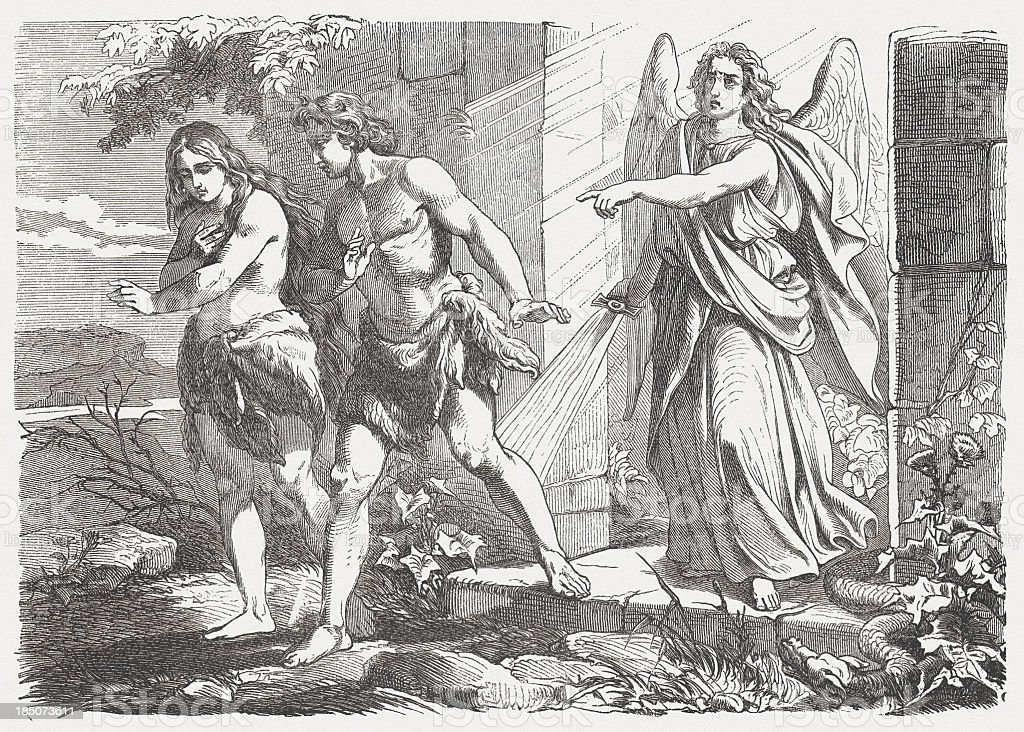 Expulsion from Garden of Eden (Genesis 3, 21-24), published 1877 royalty-free stock vector art
