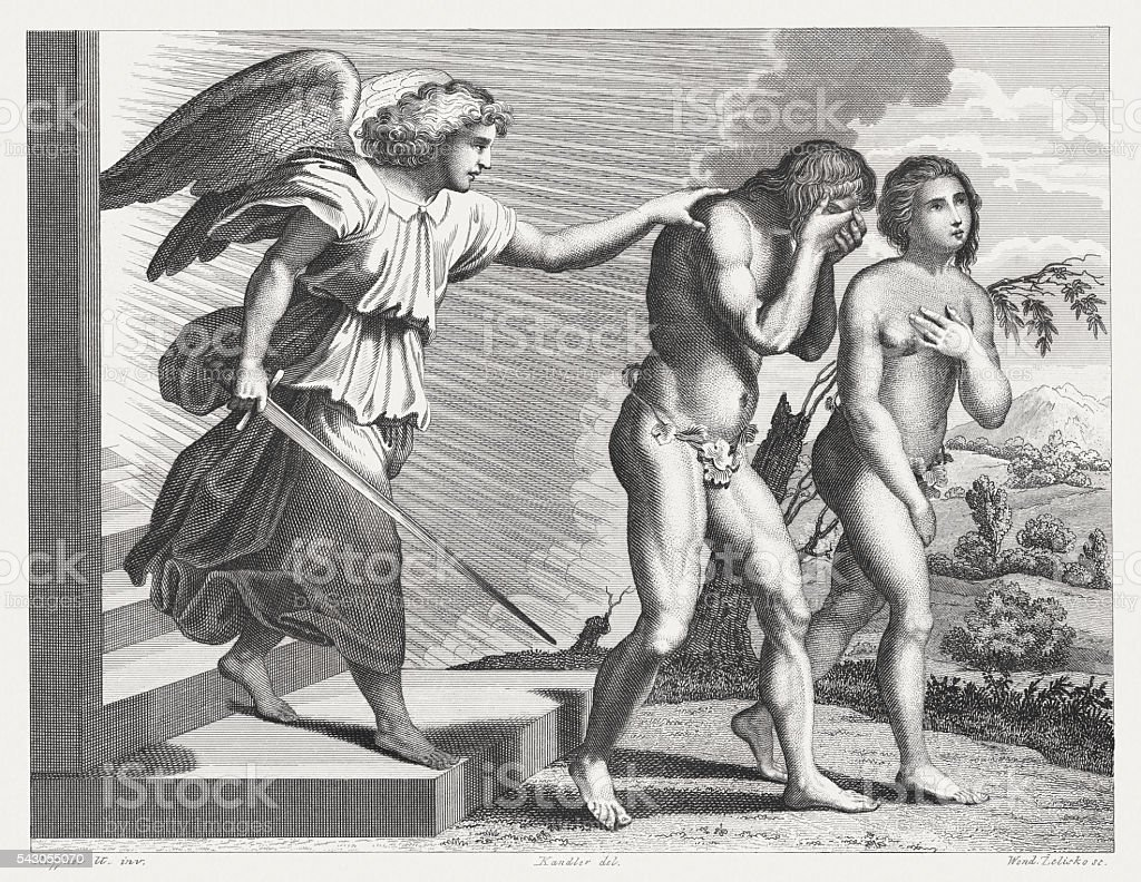 Expulsion from Paradise (Genesis 3), steel engraving, published in 1841 vector art illustration