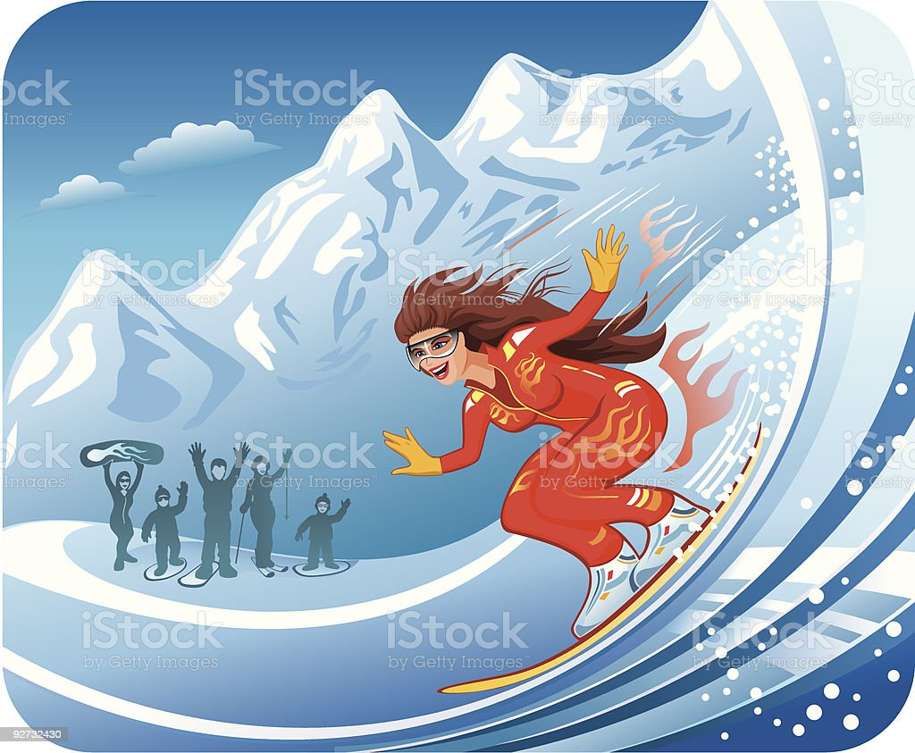 Extreme Snowboarding Female royalty-free stock vector art
