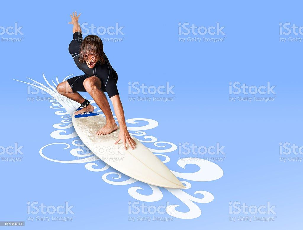 Extreme Surfer vector art illustration