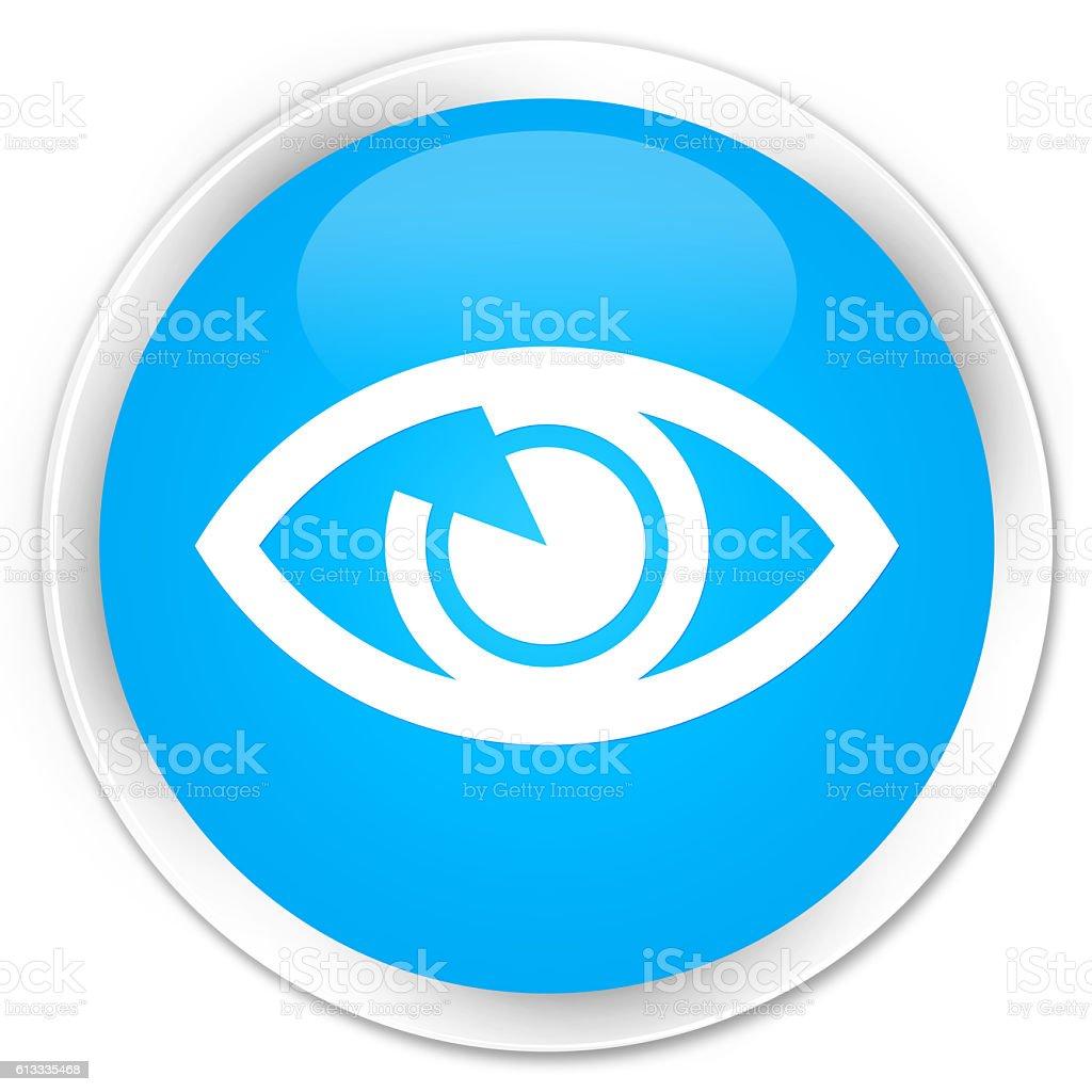 Eye icon cyan blue glossy round button vector art illustration