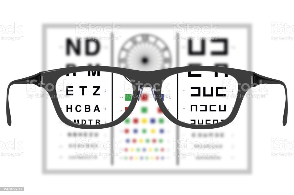 eyeglases in vision test where the lenses brings sharp vision vector art illustration