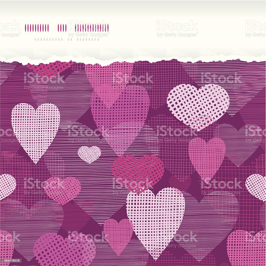 Fabric hearts romantic torn horizontal seamless background royalty-free stock vector art