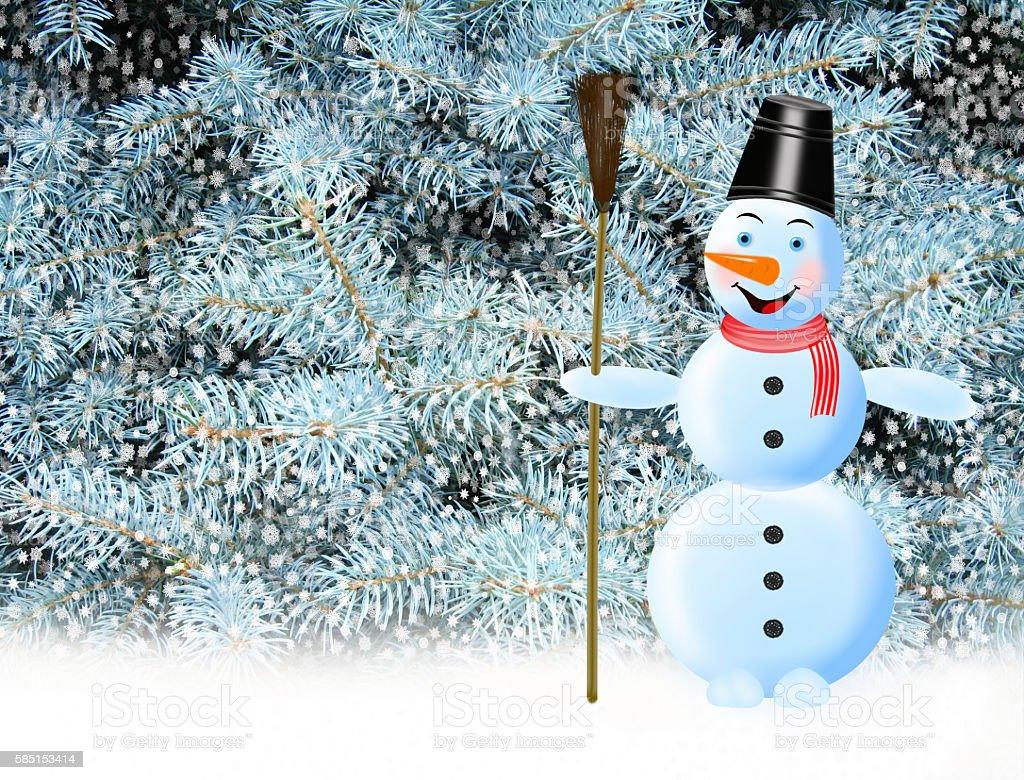 fabulous snowman snow and New Year tree vector art illustration