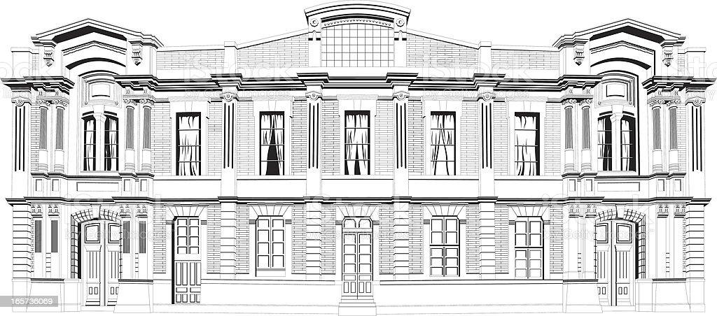 Facade of a mansion vector art illustration