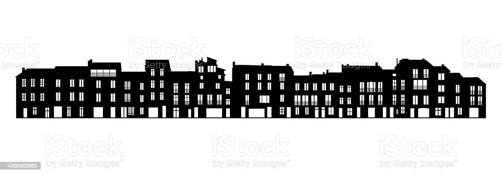 facade of a typical street in the southern Europe vector art illustration