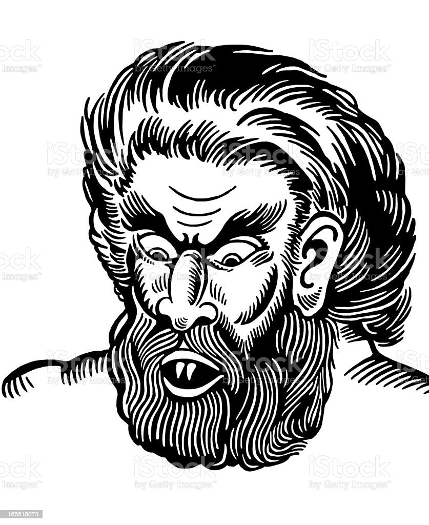 Face of Wolfman royalty-free stock vector art
