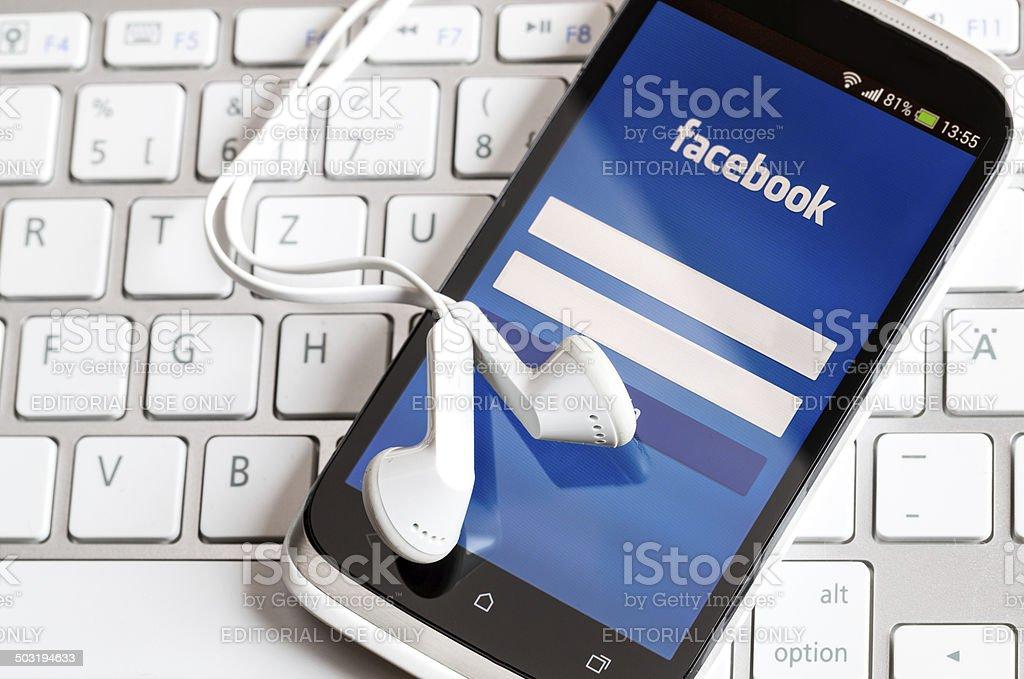 Facebook application on smart phone screen. vector art illustration