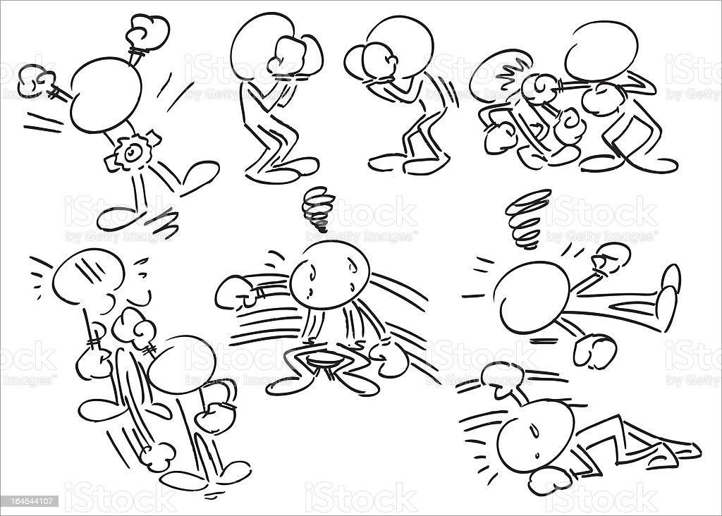 Faceless Character Boxing vector art illustration