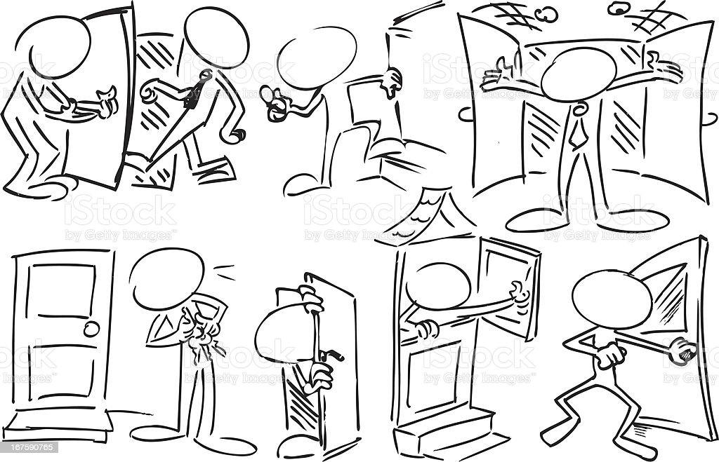 Faceless Characters using Doors vector art illustration