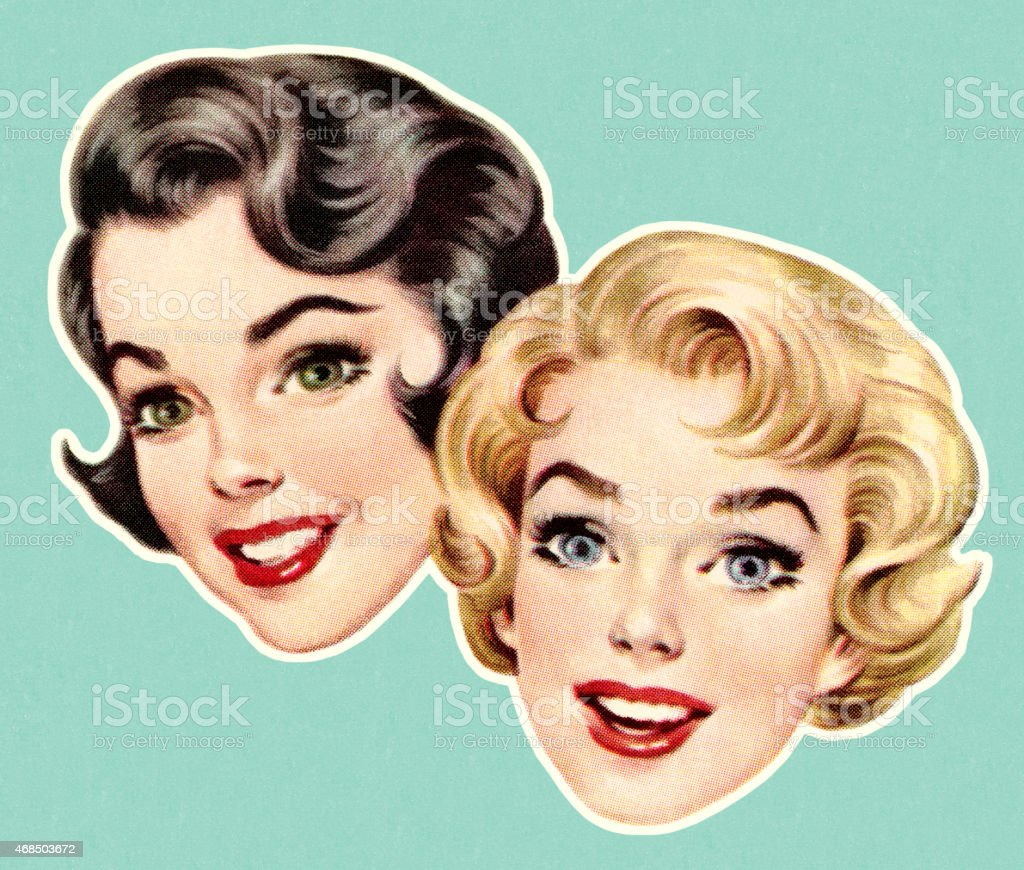 Faces of Two Women vector art illustration