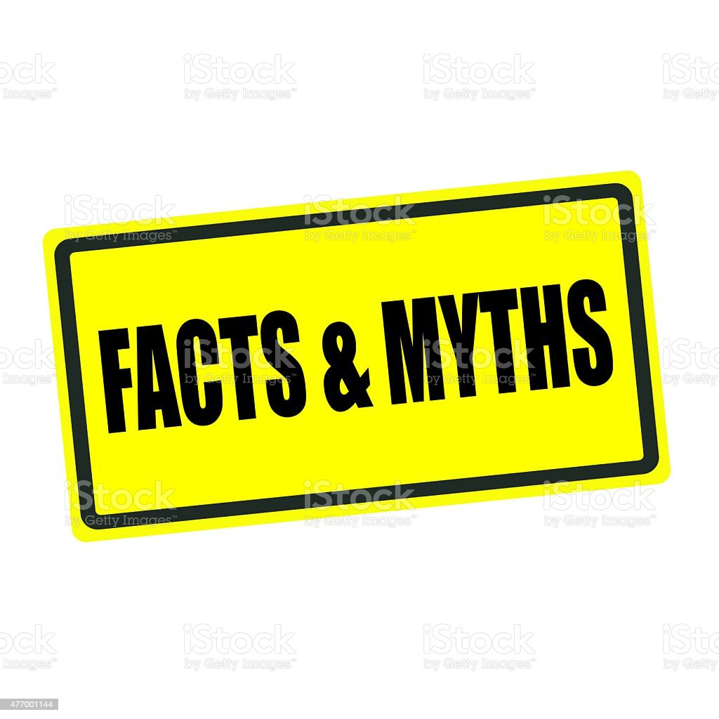 Facts and Myths back stamp text on yellow background vector art illustration