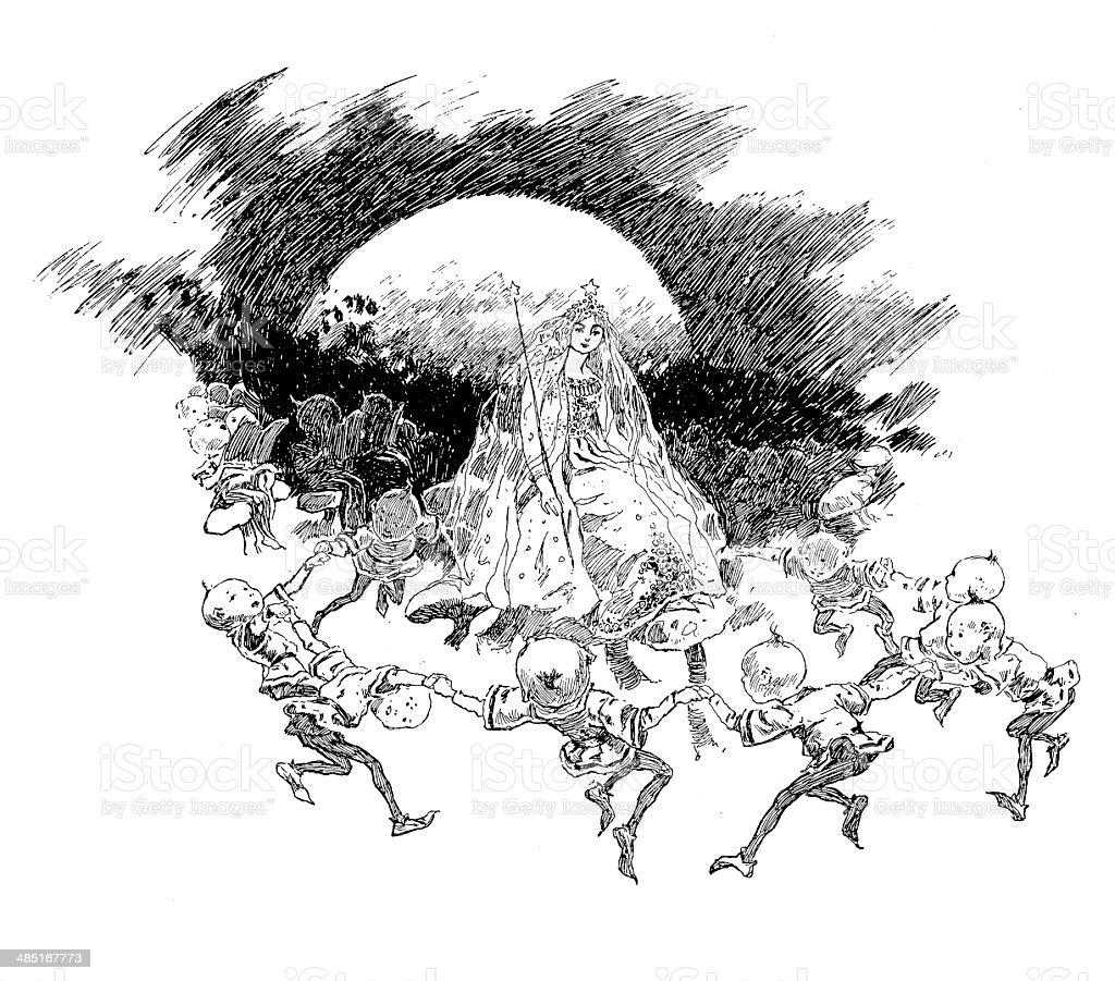 Fairies Dancing In Moonlight royalty-free stock vector art