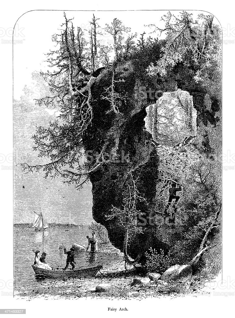 Fairy Arch, Mackinac Island, Michigan | Historic American Illustrations royalty-free stock vector art