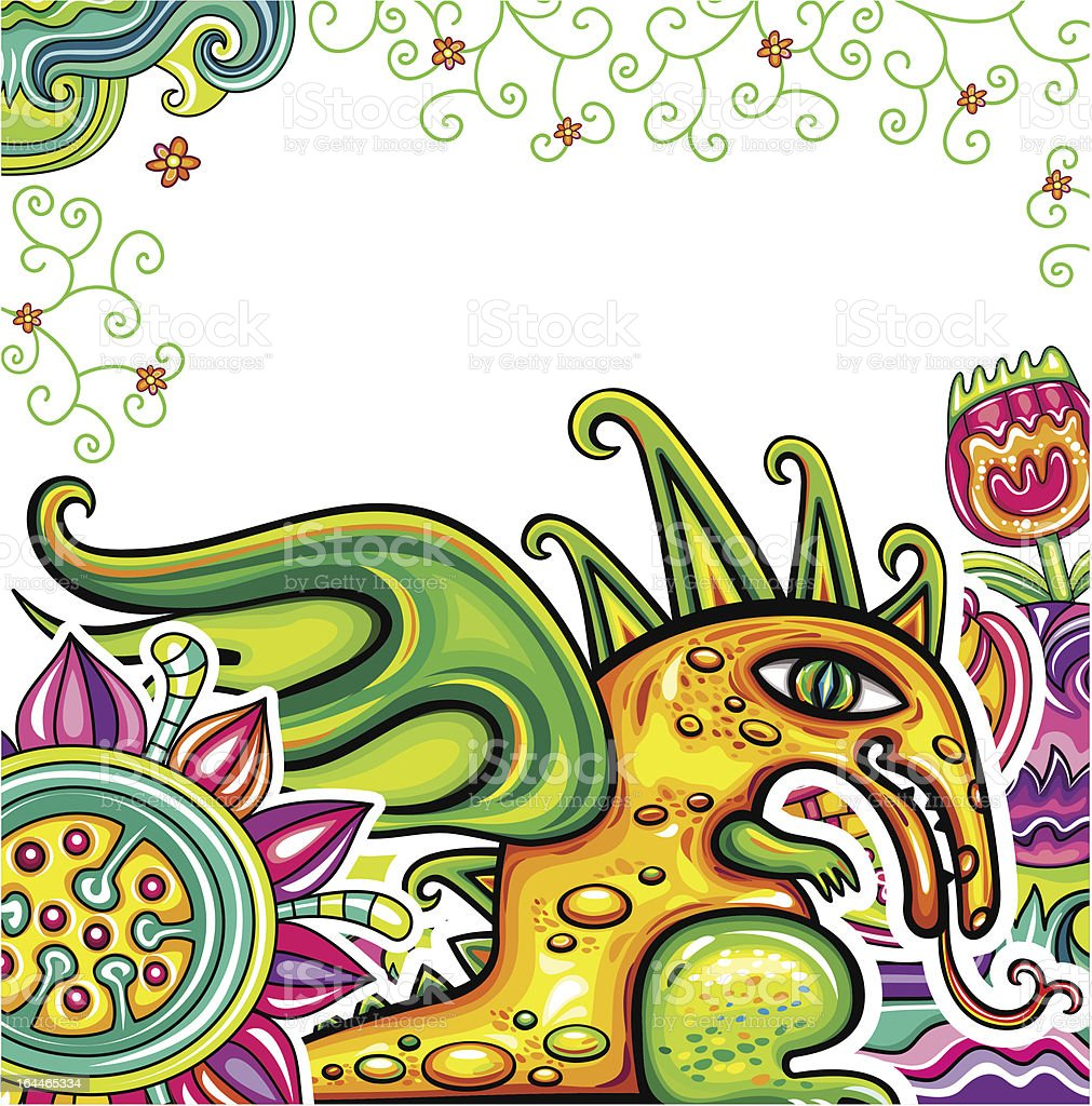 Fairy dragon, floral pattern royalty-free stock vector art