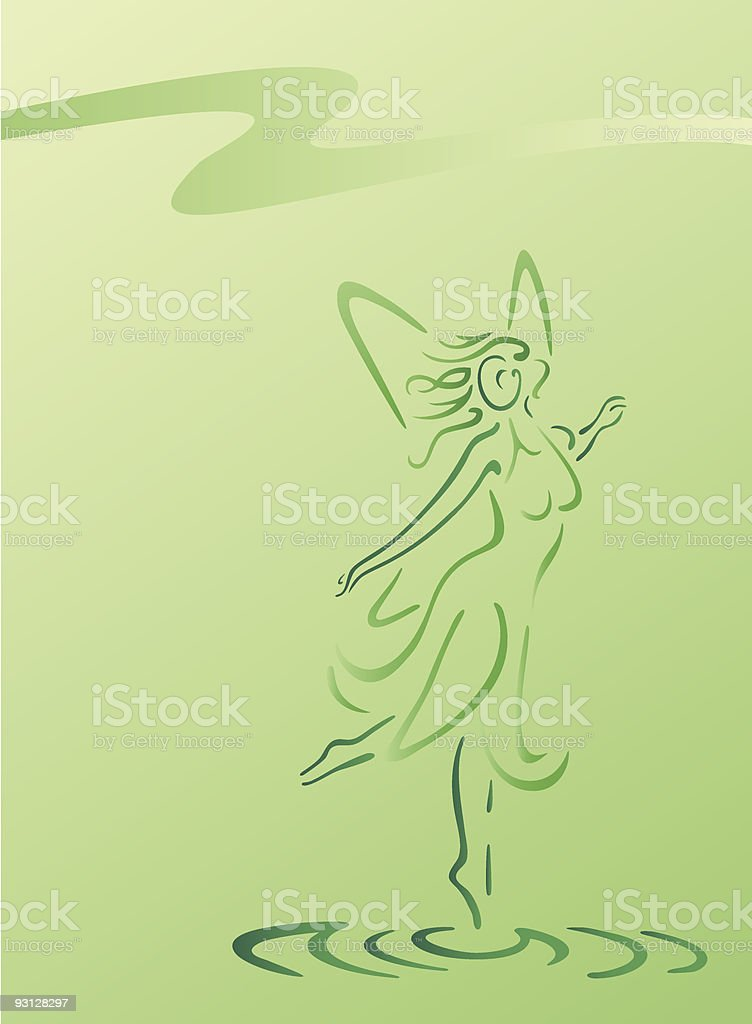 Fairy in green royalty-free stock vector art