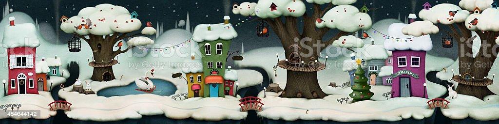 Fairy winter night vector art illustration