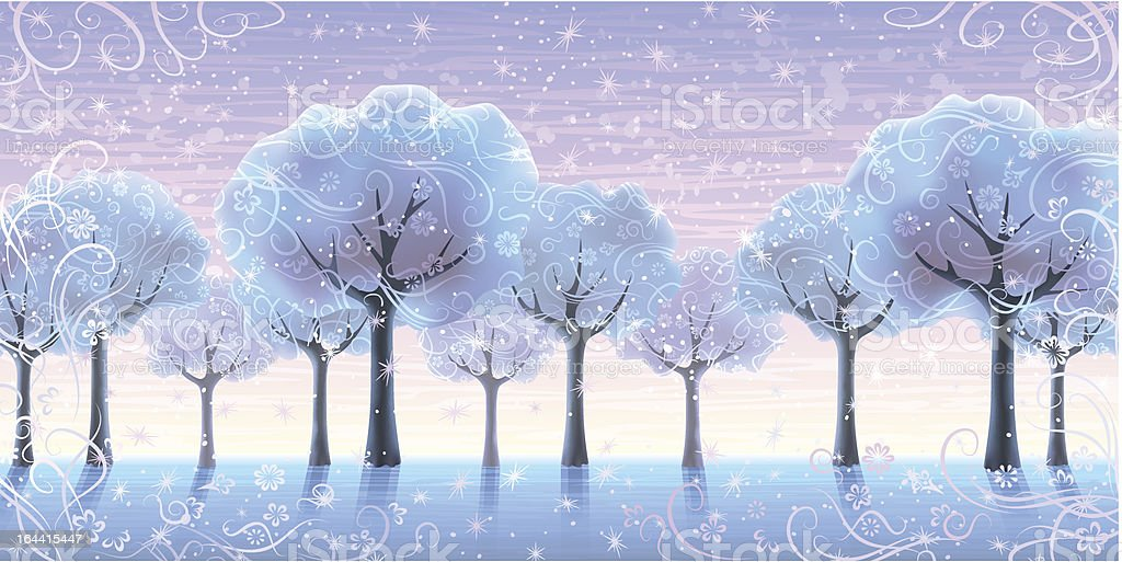 Fairy-tale winter trees royalty-free stock vector art