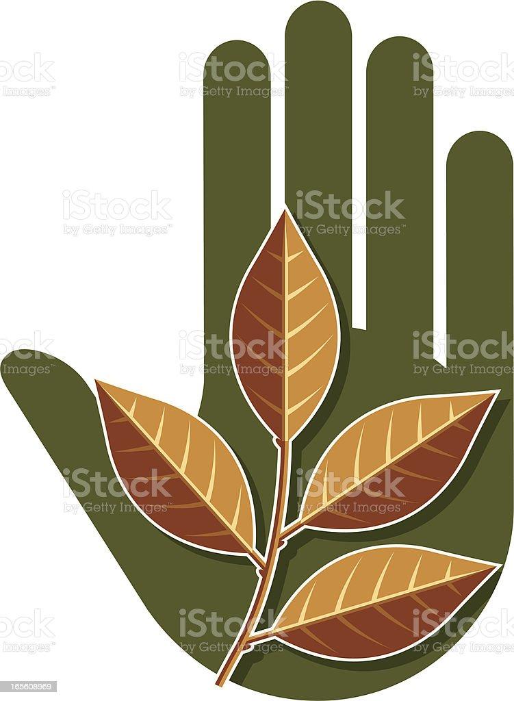 Fall leaf hand. vector art illustration