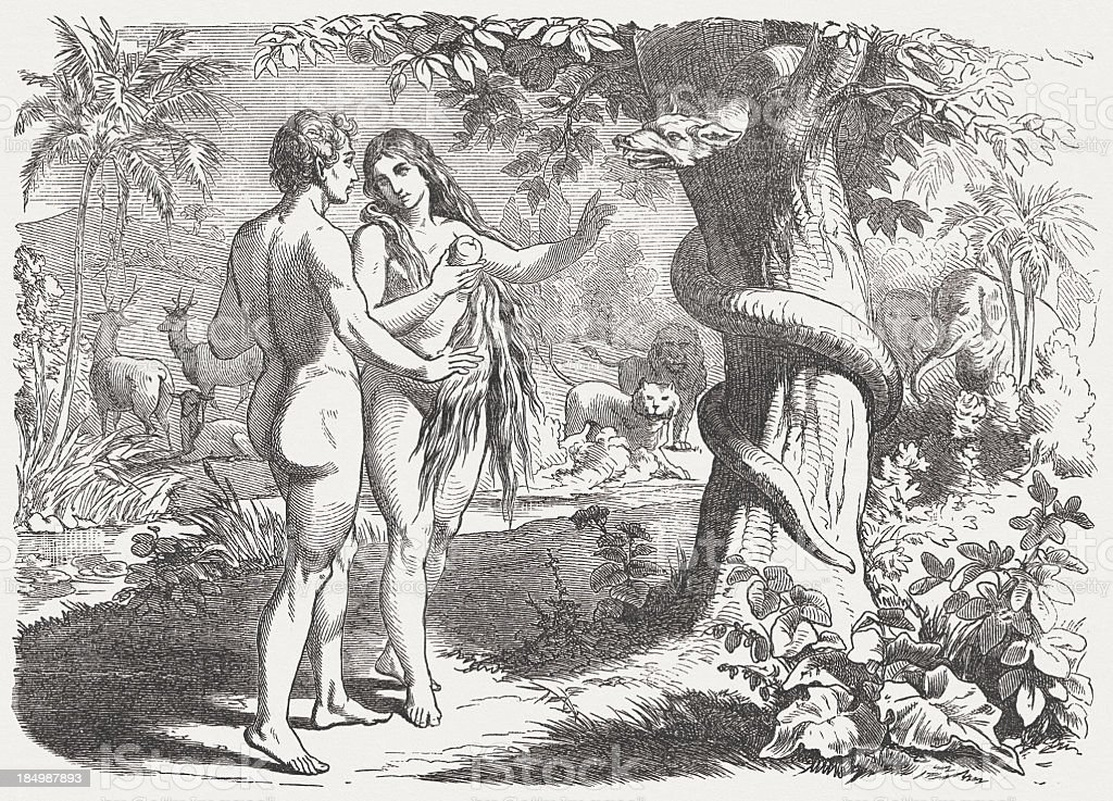 Fall of man (Genesis 3, 6), wood engraving, published 1877 royalty-free stock vector art