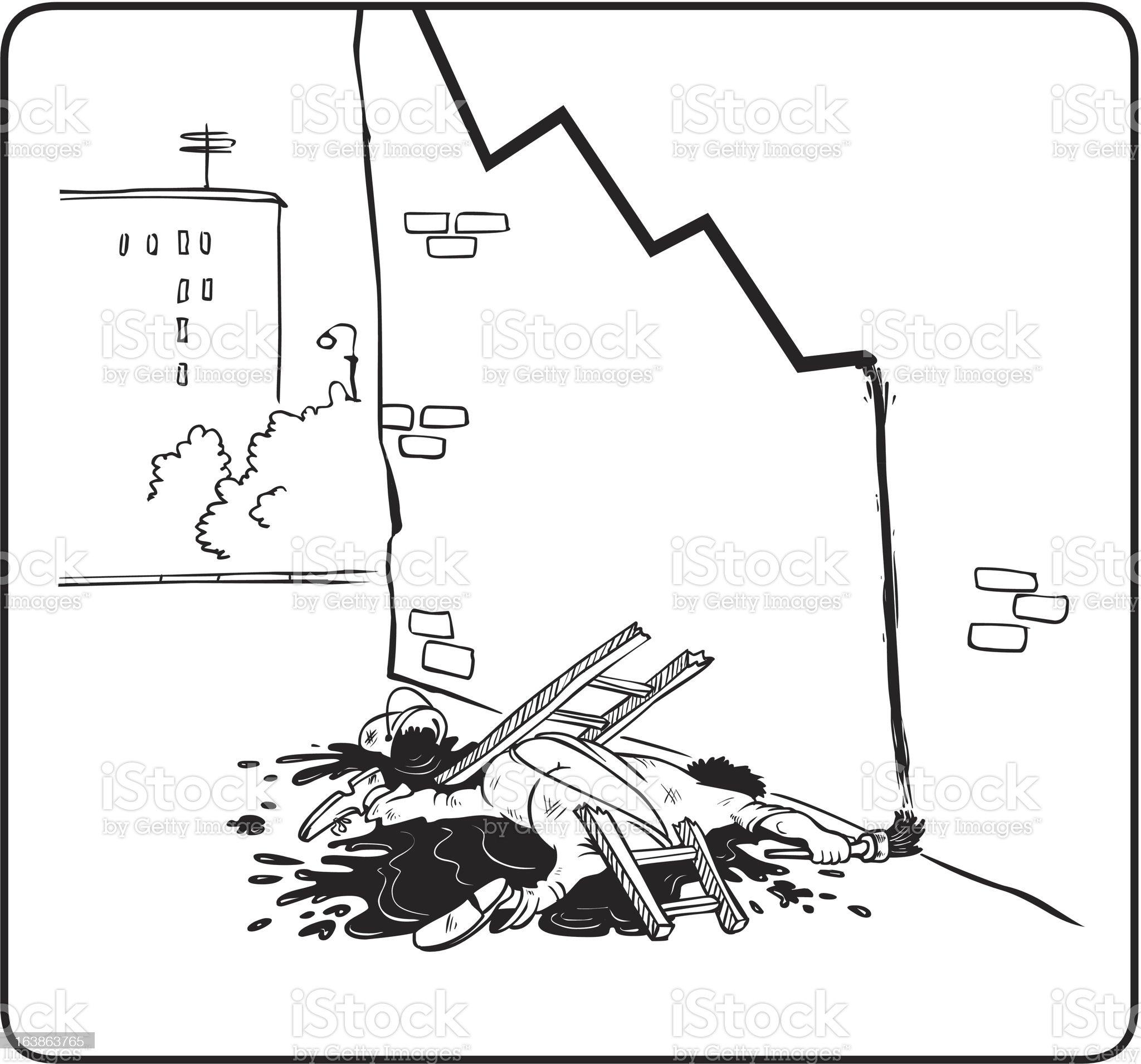 Fall of the Dow Jones royalty-free stock vector art