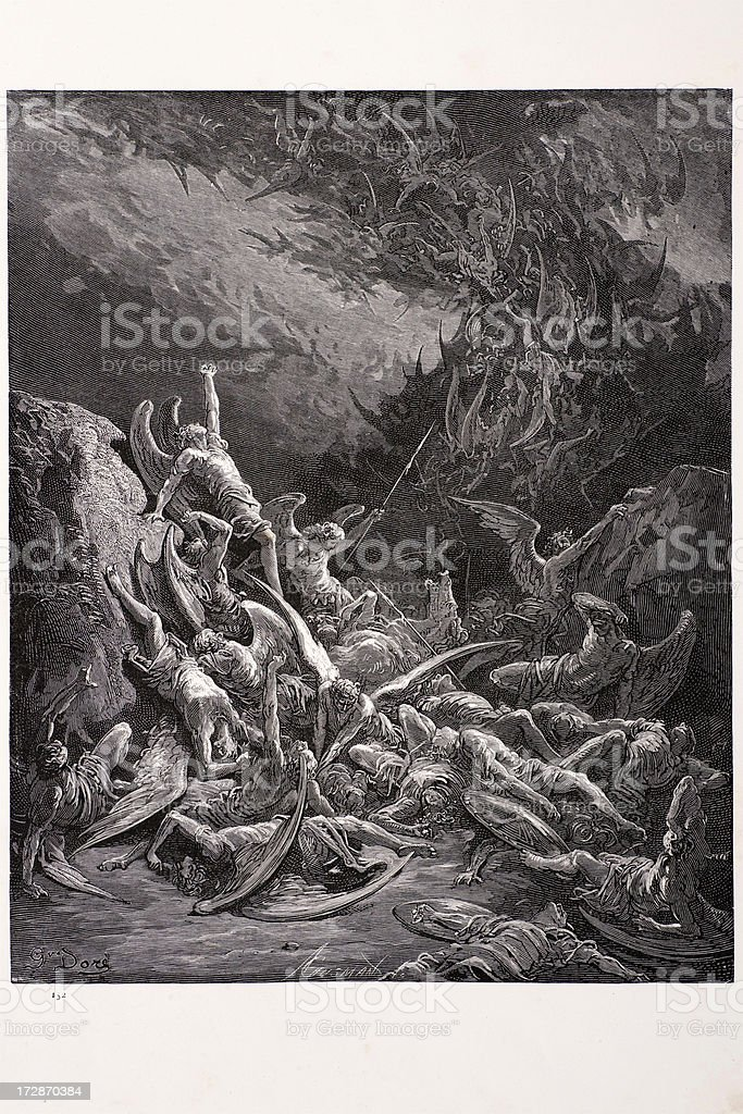 Fall of the rebel angels vector art illustration