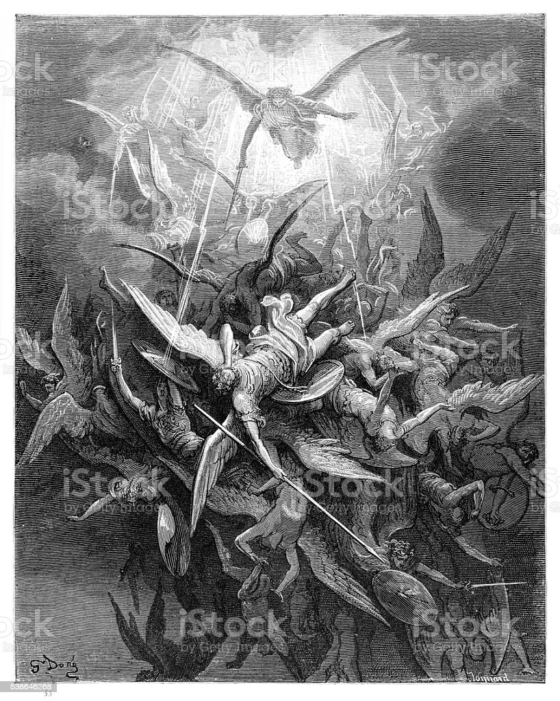 Fall of the Rebel Angels of engraving vector art illustration
