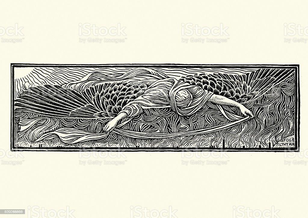 Fallen Angel - Fog and Flithy Air vector art illustration