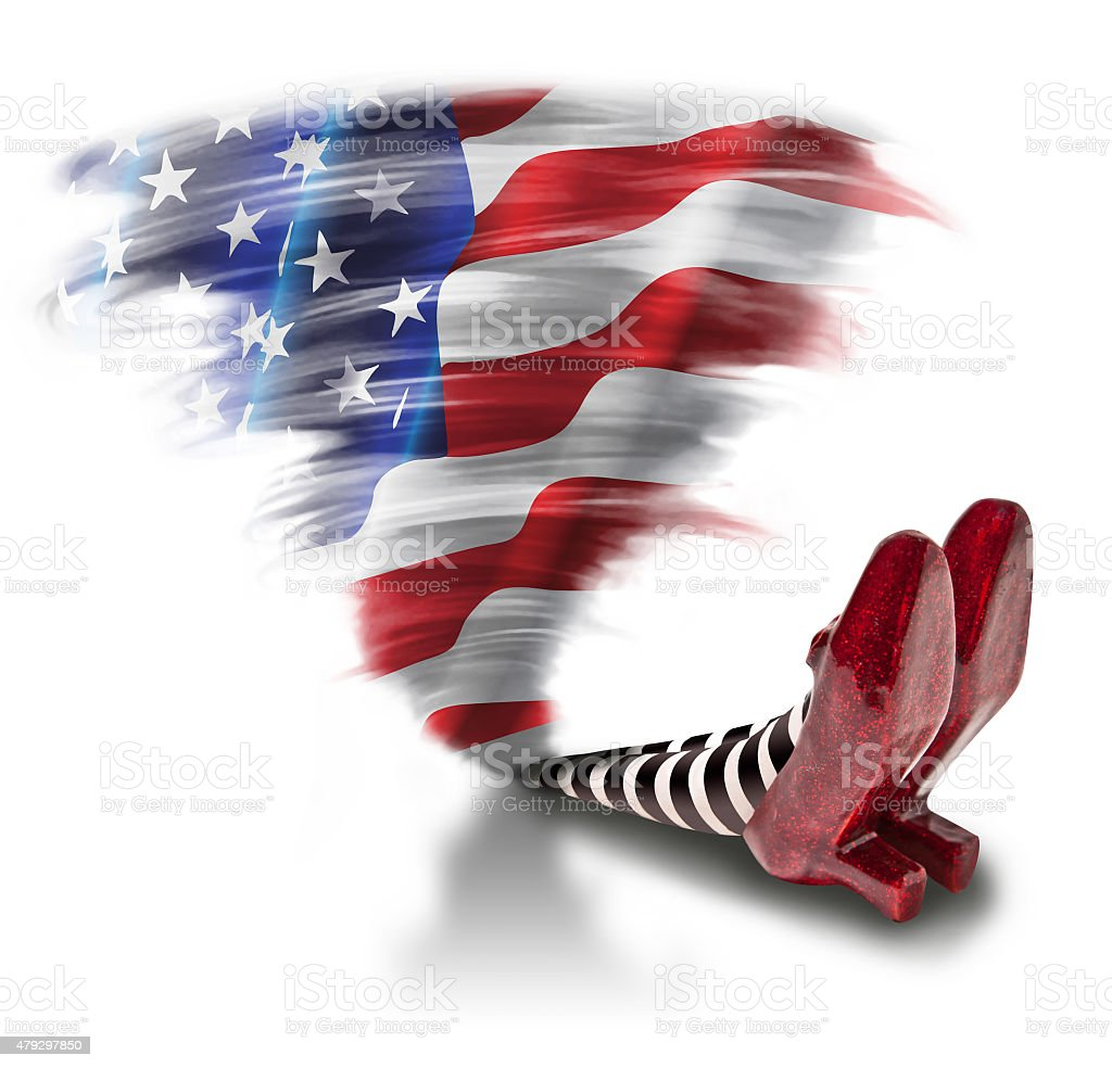 U.S.A. Fallen on the wicket witch vector art illustration