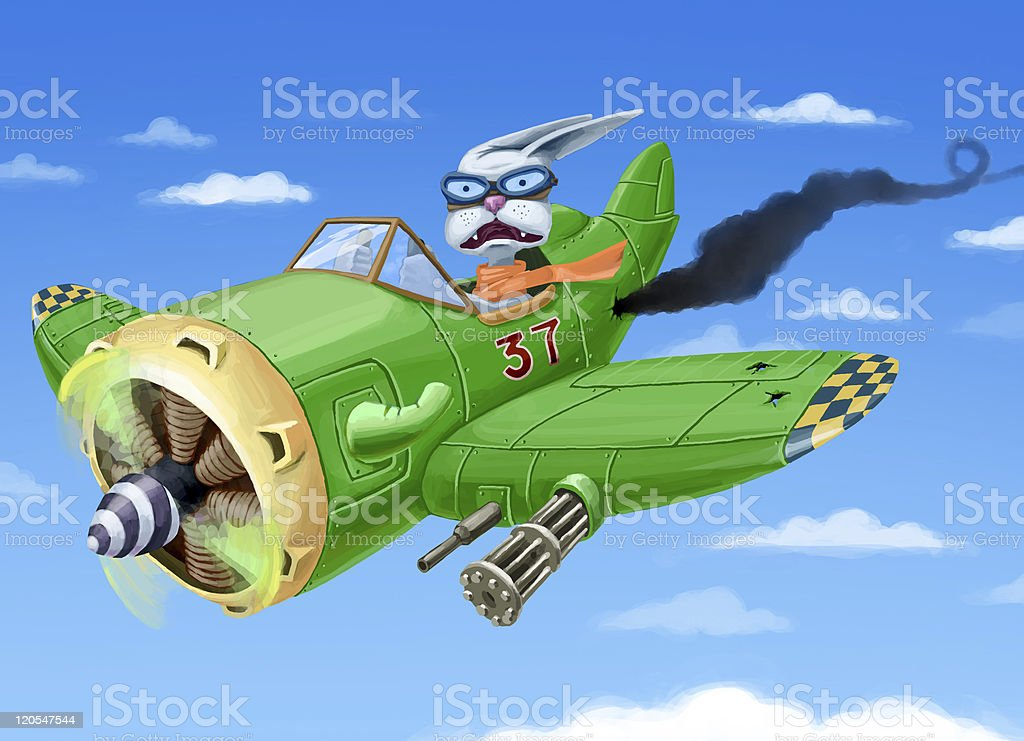 Falling down green airplane royalty-free stock vector art
