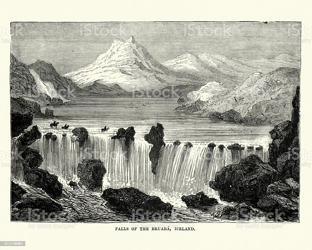 Falls of Bruara, Iceland, 19th Century vector art illustration