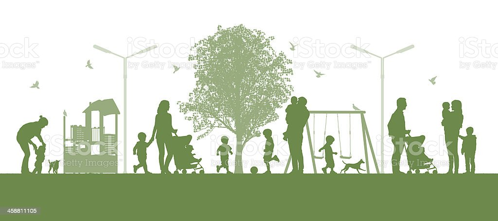 families with children in the city parc vector art illustration