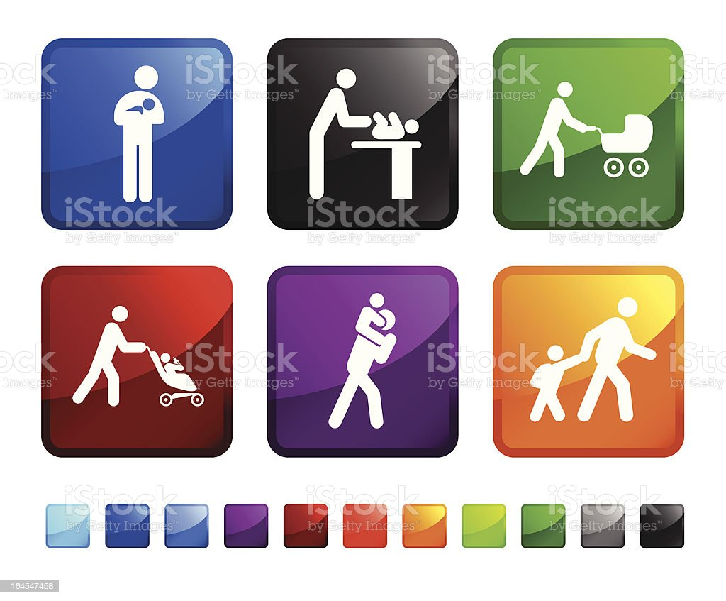 Family and new Baby on vector icon set royalty-free stock vector art