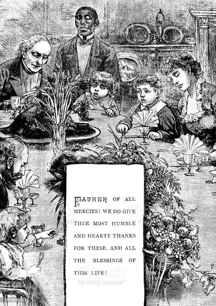 Family at Thanksgiving Table - Victorian Illustration vector art illustration
