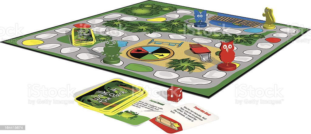 3D Family Board Game royalty-free stock vector art
