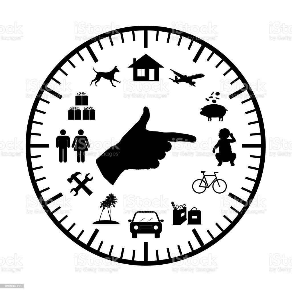 family budget modern clock royalty-free stock vector art