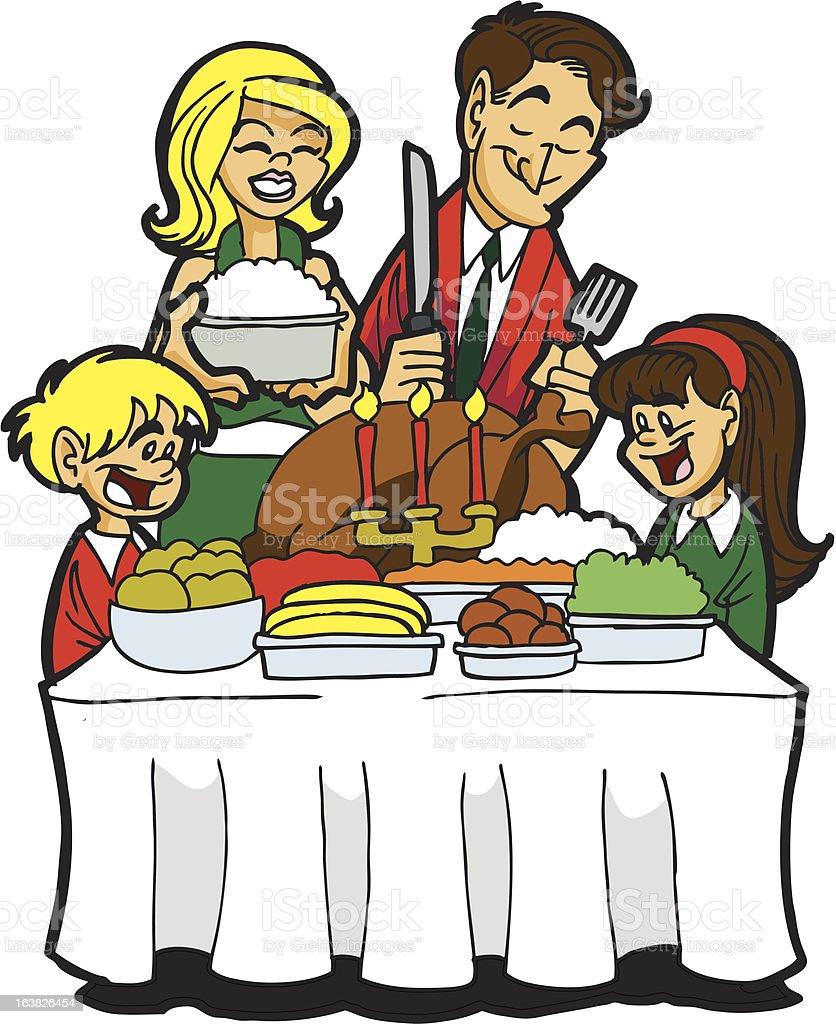 Family Enjoying a Turkey Dinner vector art illustration