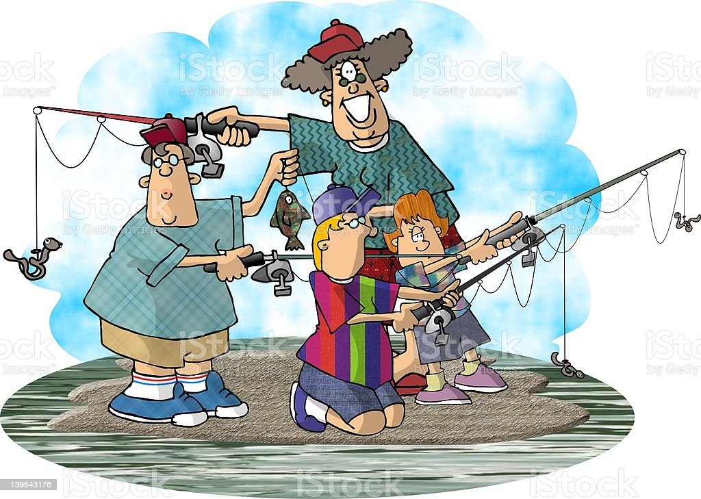 Family Fishing royalty-free stock vector art