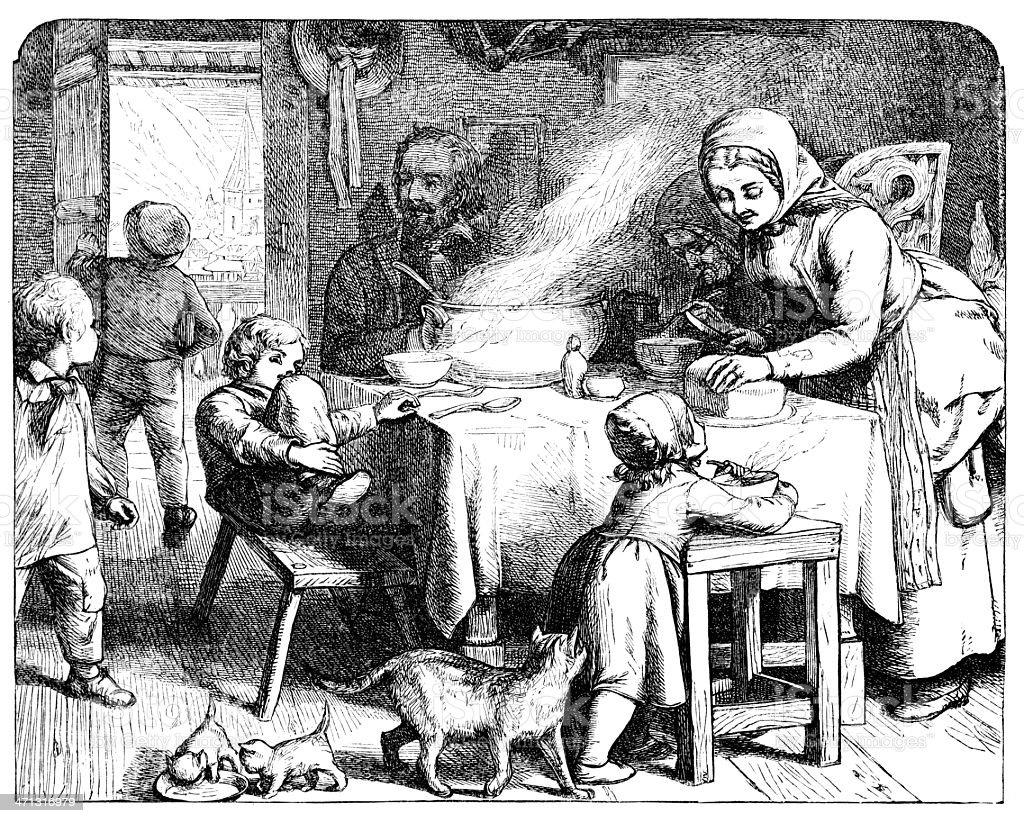 Family group interior scene around table  1862 journmal royalty-free stock vector art