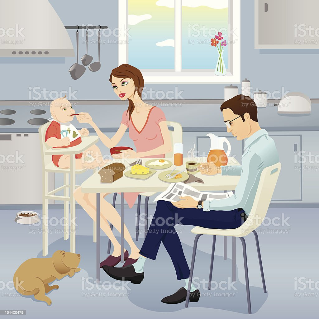 family having breakfast with baby and dog in the kitchen vector art illustration