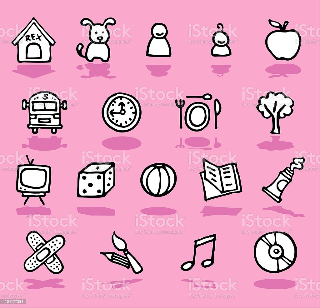 Family, home, kids icons royalty-free stock vector art