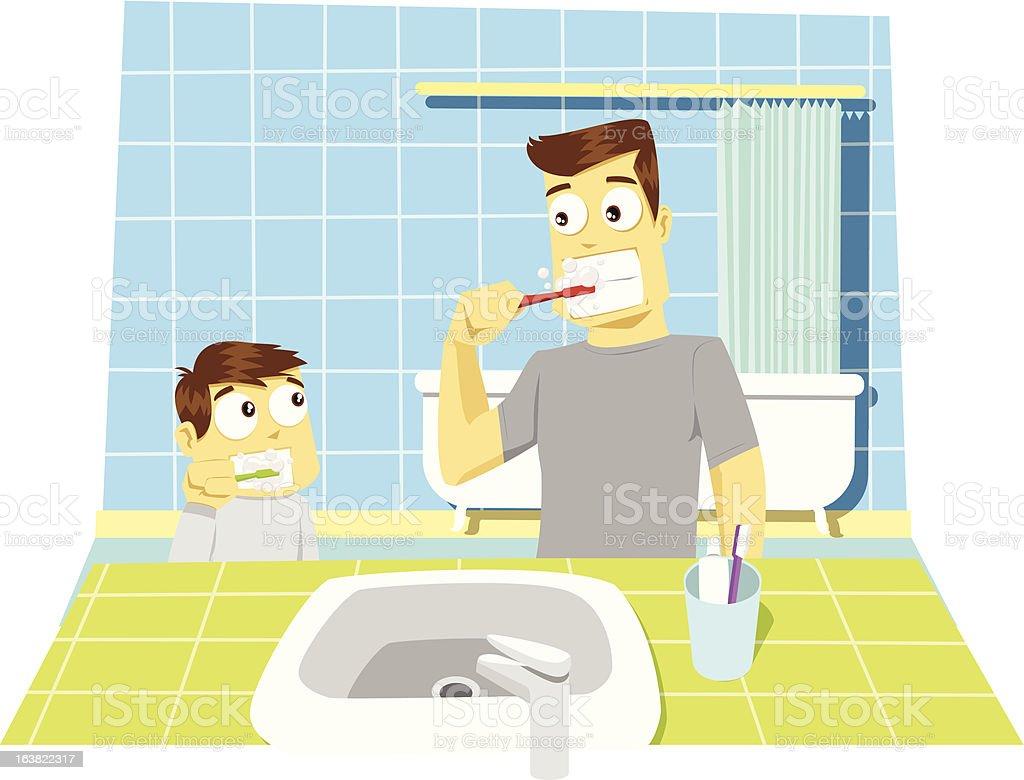 Família ilustração: Pai e filho Escovar Dentes vetor e ilustração royalty-free royalty-free