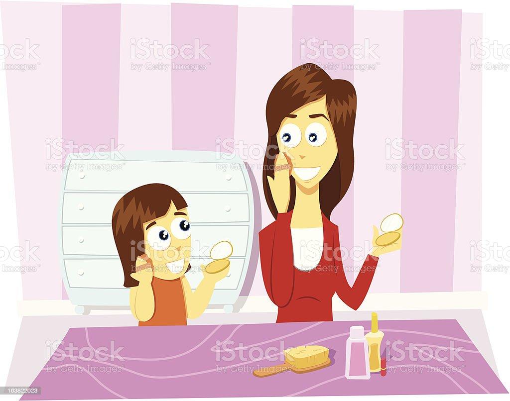 Família ilustração: Mãe e filha fazendo make-up vetor e ilustração royalty-free royalty-free