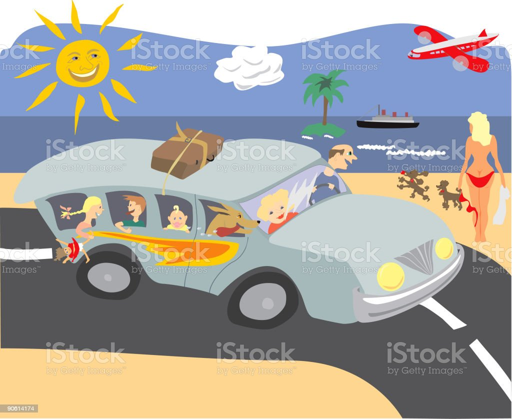 Family in Car on Road Near Beach vector art illustration